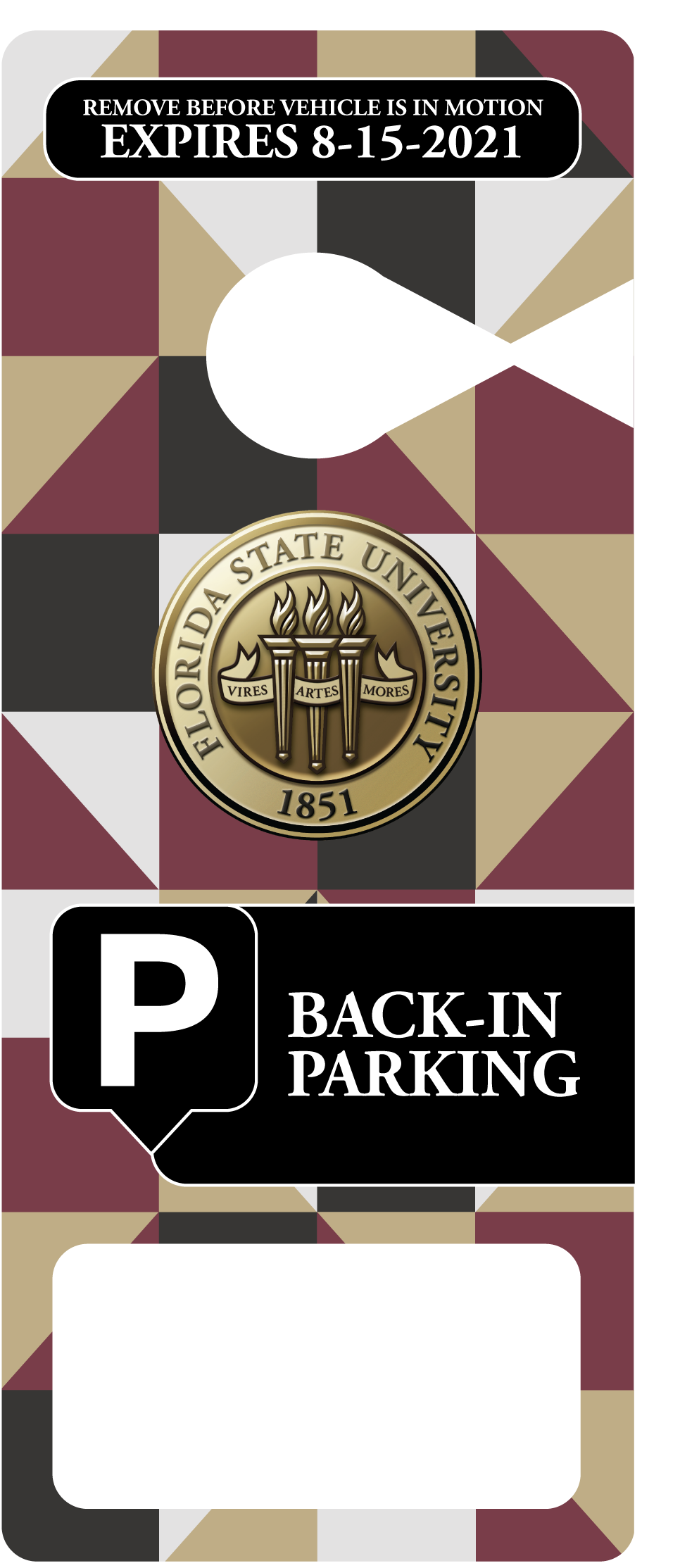 FSU Back-In Hang Tag Parking Permit
