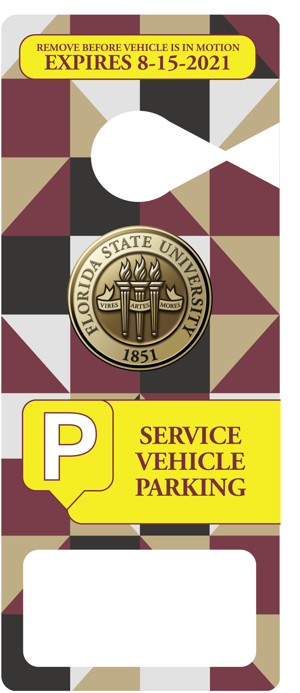 FSU Service Vehicle Hang Tag Parking Permit